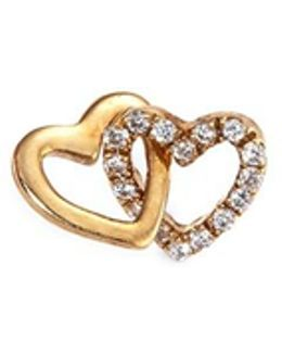 'linked Hearts' Diamond 18k Yellow Gold Charm – Always Together