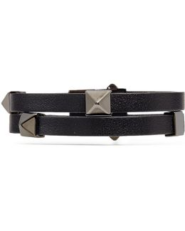 'rockstud' Double Strap Leather Bracelet