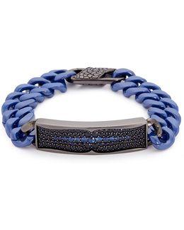 'rayman' Sapphire Rhodium Silver Ceramic Chain Bracelet