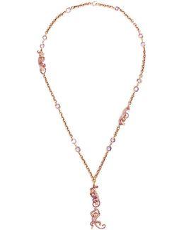 Diamond Sapphire 18k Rose Gold Monkey Pendant Necklace