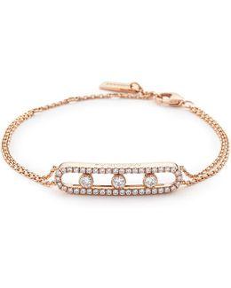 'move Pavé' Diamond 18k Rose Gold Bracelet