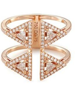 'théa 2 Row' Diamond 18k Rose Gold Ring