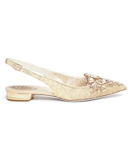 Strass And Pearl Lace Slingback Skimmer Flats