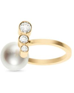 'emma Perle' Akoya Pearl Diamond 14k Gold Ring