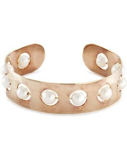 'complex Roll In Stones' Freshwater Pearl Gold Silver Bangle