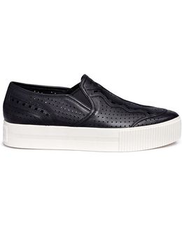 Kingston' Perforated Leather Flatform Slip-ons