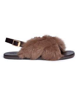 Rabbit Fur Leather Slingback Sandals