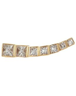 'petite Croissant Princess' Diamond 18k Yellow Gold Single Climber Earring