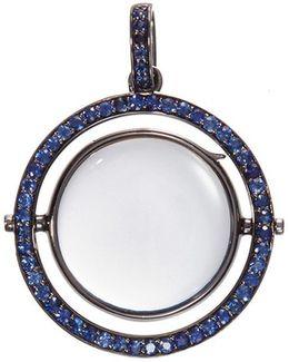 18k Black Gold Sapphire Revolving Round Locket – 22mm