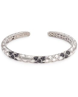 Sapphire Silver Scaly Naga Cuff