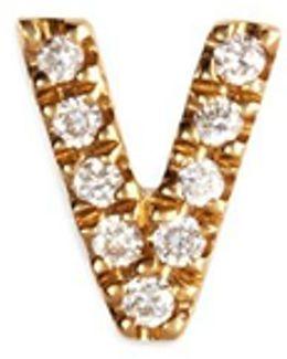 Diamond 18k Yellow Gold Letter Charm – V