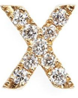 Diamond 18k Yellow Gold Letter Charm – X