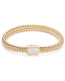 Diamond 18k Yellow Gold Medium Woven Chain Bracelet