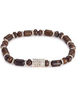 Bronzite Silver Bead Bracelet