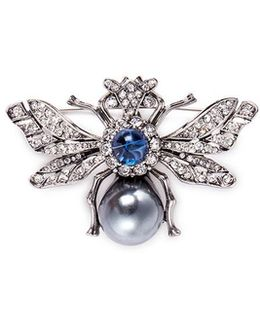 Glass Pearl Crystal Insect Brooch