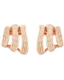 'stream Lines Triple Hoops' 18k Rose Gold Earrings