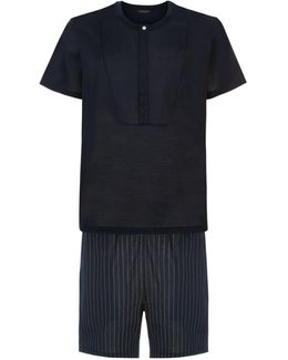Button-neck Top And Shorts Pajama Set