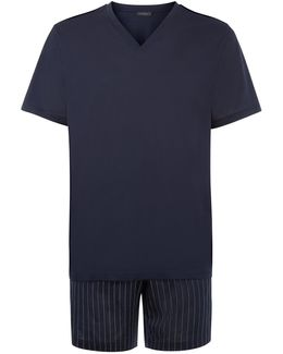 V-neck Top And Shorts Pyjama Set