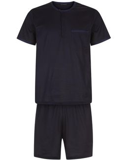 Crew-neck Top And Shorts Pyjama Set In Lisle Jersey