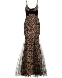 Embroidered Bi-stretch Silk & Tulle Dress