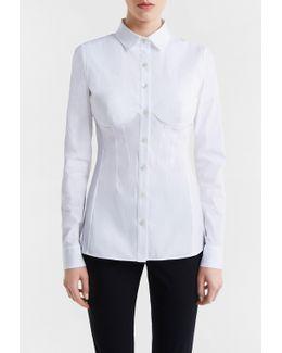 Bi-stretch Cotton Bustier Shirt