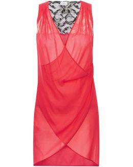 Fuschia Silk And Leavers Lace Sleeveless Drape Dress