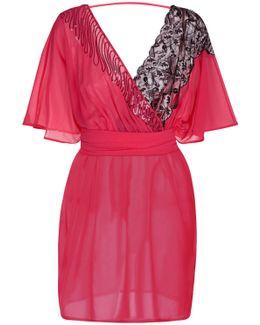Fuschia Silk And Leavers Lace Short Dress