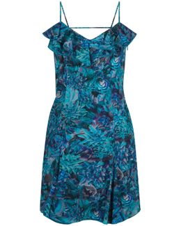 Turquoise Floral Print Dress With Ruffle-detail