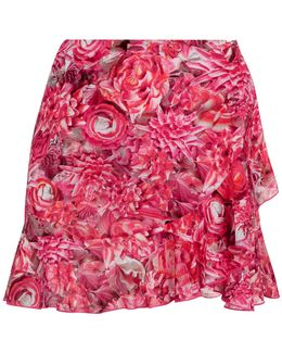 Hot Fuchsia Floral Print Mini Skirt With Ruffle-hem