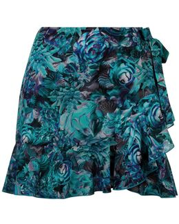 Turquoise Floral Print Mini Skirt With Ruffle-hem