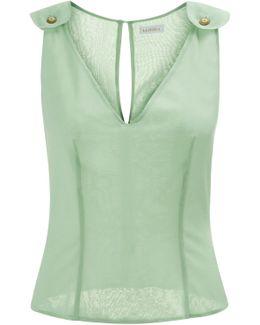 Green Sleeveless Silk And Chiffon Top