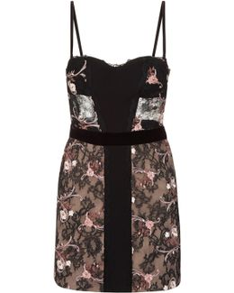 Black Corset Dress In Silk Georgette And Embroidered Leavers Lace With Built-in Bra