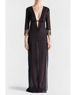 Black Long Night Dress In Stretch Silk Georgette And Embroidered Leavers Lace