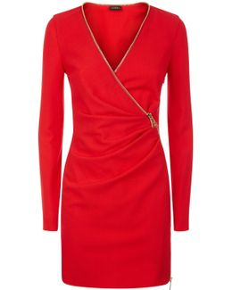 Red Short Cool-wool Zip Dress With Leavers Lace Panel