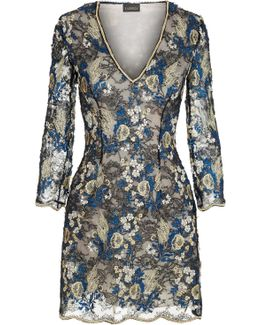 Black And Blue Short Leavers Lace Dress With Embroidery