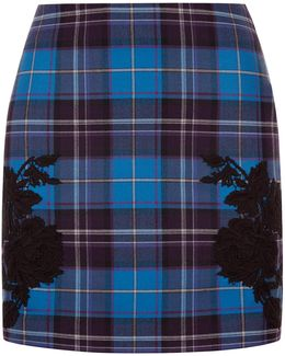 Blue Cool-wool Tartan Mini Skirt With Macramé Detailing