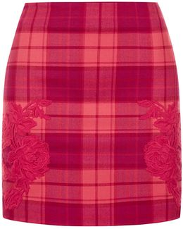 Red Cool-wool Tartan Mini Skirt With Macramé Detailing