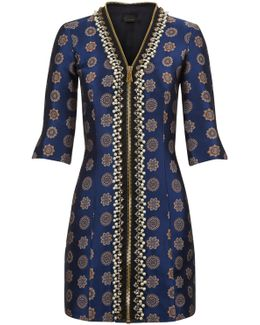Embellished Blue Zip-front Jacquard Mini Dress