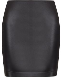 Black Lambskin Leather Pencil Skirt