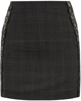 Grey Prince Of Wales Check Cool-wool Mini Skirt With Lace Trim