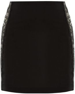 Black Cool-wool Mini Skirt With Lace Trim
