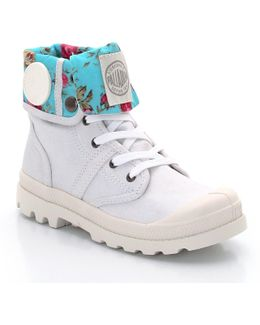 High Top Canvas Lace-up Trainers With Printed Cuffs