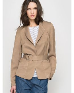 Linen Blend Jacket With 1-button Fastening