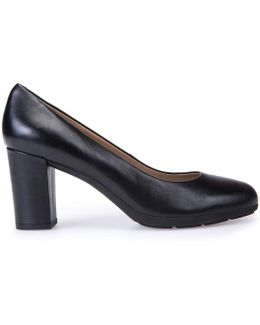 D Annya A Leather Court Shoes With Square Heel