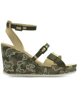 Adesha Art Leather Wedge Sandals