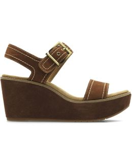 Aisley Orchid Leather Wedge Sandals