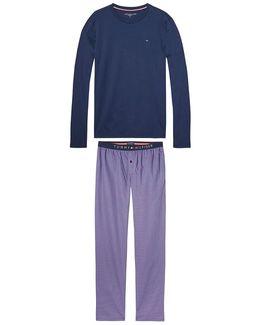 Long-sleeved Pyjamas With Printed Pyjama Bottoms