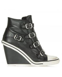 Thelma Black Leather Hi-top Wedge Trainer