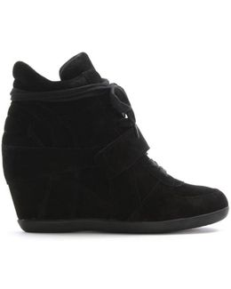Bowie 2 Black Suede Wedge High Top Trainer