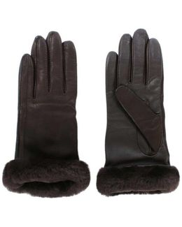 Ugg Australia Women's Classic Brown Leather Touchscreen Smart Glove